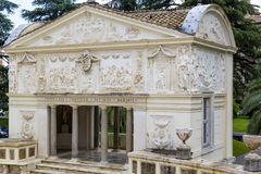 View of Villa Pia Casina Pio IV which is now home to Pontifical Academy of Sciences from Vatican Gardens in Rome Italy. Beautiful architecture with landscape in Stock Image
