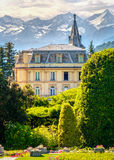 View of Villa Taranto in Verbania from the gardens with the moun Royalty Free Stock Photography