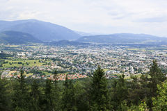A view of Villach from the Dobrac mountain, Austria Royalty Free Stock Images