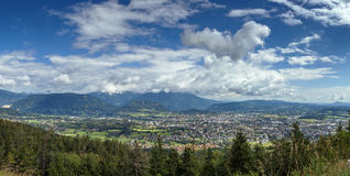View of Villach from mountain, Austria Royalty Free Stock Photo