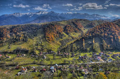 View of a village. A top view of a rustic village in the mountains Royalty Free Stock Photos