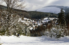 View on village. View on Spindleruv Mlyn from blue way Stock Photos