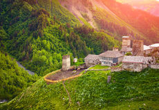View of the village Adishi. Upper Svaneti, Georgia, Europe. Cauc Stock Photos