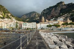 Amalfi Coast views. View of the village of Amalfi on the beautiful coast of Italy Stock Images