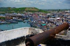 View of village arround Elmina Castle Stock Photos