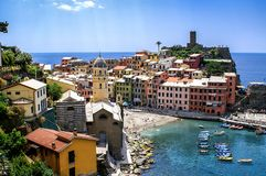 View of the village and beach of Vernazza Royalty Free Stock Photos