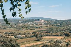 View of the village of Bonnieux. From the top of the terrace in the village of Lacoste royalty free stock photo