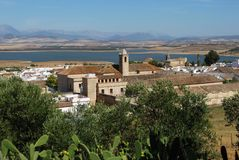 View of village, Bornos, Spain. View of the village and convent with a lake to the rear, Bornos, Cadiz Province, Andalusia, Spain, Western Europe Royalty Free Stock Photos