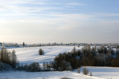 View of the village Boyar in Verkhovazhsky District in winter Royalty Free Stock Photos