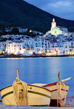View of village of Cadaques, Costa Brava, Spain: Cathedral and Houses Stock Photos