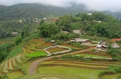View of village CatCat with rice terraces Royalty Free Stock Images