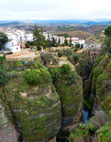View of the Village on the Cliff in Ronda, Spain. City Landscape of Ronda, Spain Royalty Free Stock Photos