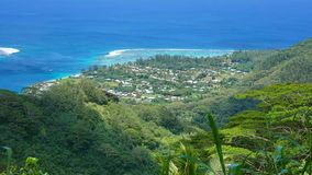 View village of Fare Huahine Nui French Polynesia. View over the village of Fare from the mount Turi, Huahine Nui island, Pacific ocean, French Polynesia royalty free stock images