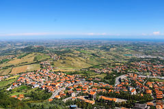 View of the village from the fortress of San Marino. The Republi Stock Images