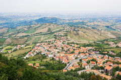 View of the village from the fortress of San Marino Republic Stock Image