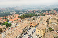 View of the village from the fortress of San Marino Republic Stock Photos