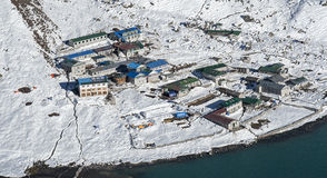 View of the village of Gokyo Royalty Free Stock Photo