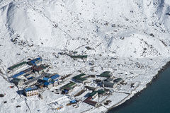 View of the village of Gokyo Stock Photos