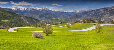 View of the village Guillestre of the pass Col de Vars. Royalty Free Stock Photos