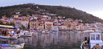 View of the village of Gytheio in Greece. A Panoramic, view of theTraditional village of Gytheio in Greece stock images