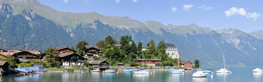 View at the village of Iseltwald on lake Brienz Stock Photos