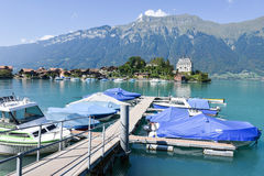 View at the village of Iseltwald on lake Brienz, Switzerland Royalty Free Stock Photo