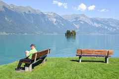View at the village of Iseltwald on lake Brienz, Switzerland Stock Photography