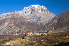 View of the village Jharkot Stock Photography