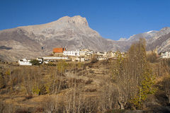 View of the village Jharkot Stock Photo