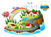 A view of the village with kids Royalty Free Stock Photos
