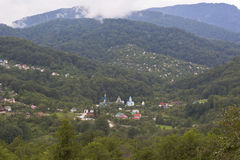 View on the village Lesnoye and Trinity-Georgievskiy female monastery in Adler district of Sochi Stock Photo