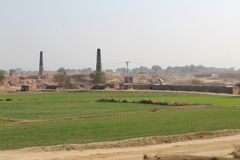 A view of village life and fields with brick kiln. Green fields in country of Punjab, stork in the fields of Punjab, with beautiful colors, landscape, trees Royalty Free Stock Photos