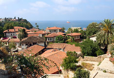 View of village on Mediterranean coast, Turkey Royalty Free Stock Image