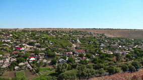 View of the village from the mountain stock footage