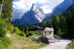 View of Village With Mountain Range in Background Royalty Free Stock Photo