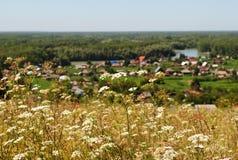 View of the village. View from the mountain to the village Srostki, Altai Stock Photos