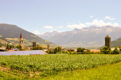 View village and mountains Royalty Free Stock Photos