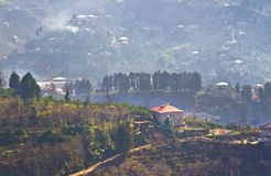 View of village on mountains in Georgia Royalty Free Stock Photo