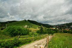View of the village in the mountains. Summer mountain landscape royalty free stock photography