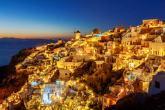 View of the village Oia at night. Royalty Free Stock Photo