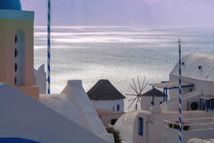 View of the village Oia on the sunset. Stock Image