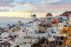 View of the village Oia on the sunset. Stock Photography