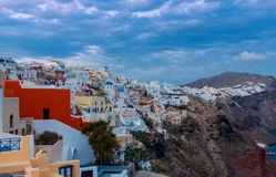View of the village Oia on the sunset. Royalty Free Stock Photography