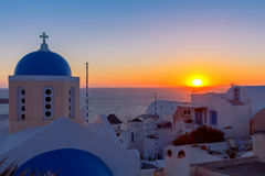 View of the village Oia on the sunset. Royalty Free Stock Photos