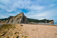 View of the village of Perce from the pierced rock Royalty Free Stock Photography