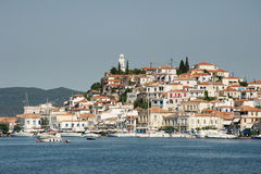 View of the village at the Poros island, Greece Royalty Free Stock Images