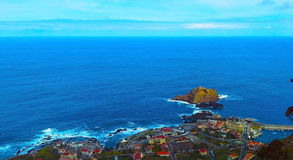 View of the village of Porto Moniz with lava-rock pool, Madeira Island, Royalty Free Stock Images