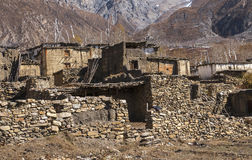 View of the village Purang around Muktinath Stock Images