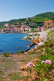 View of the village of Rio Marina. View of the coastal village of Rio Marina on Elba Island, from the walk to the mining park stock images