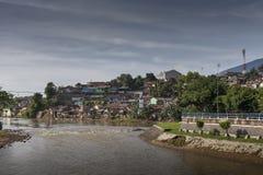 Riverside Village at bogor. View of village on River side at Empang, Bogor, Indonesia Stock Photography